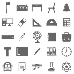 School icons on white background