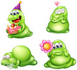Four green monsters with different activities