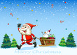 A happy Santa Claus pulling the sleigh with a snowman