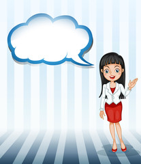 A girl talking with an empty cloud template