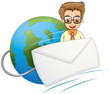An envelope in front of a smiling businessman above the globe