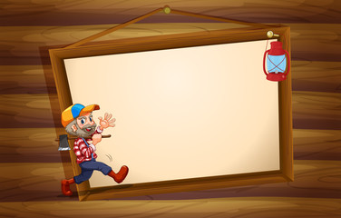 A wooden template with a lumberjack and a lamp