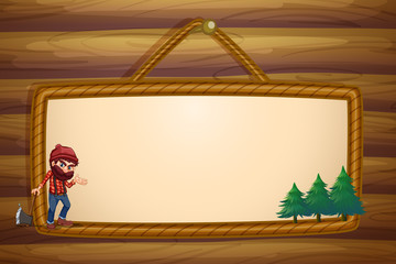 A hanging frame with a lumberjack and three pine trees
