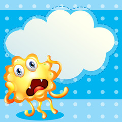 An ugly monster in front of the empty cloud template