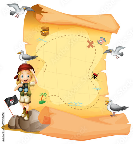 A treasure map and a young girl holding a telescope