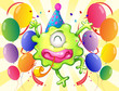 A happy monster in the middle of the balloons