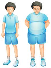 A thin and a fat boy in a blue gym uniform