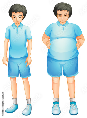A thin and a fat boy in a blue gym uniform