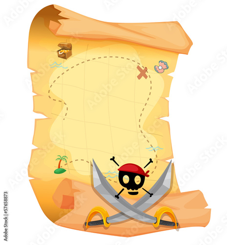 A treasure map with a skull and sharp swords