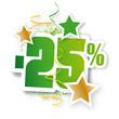 Sticker pourcentage vert et or (-25%)