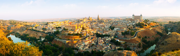 Panorama of Toledo in sunny morning