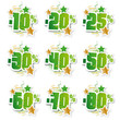 Stickers pourcentages verts et or
