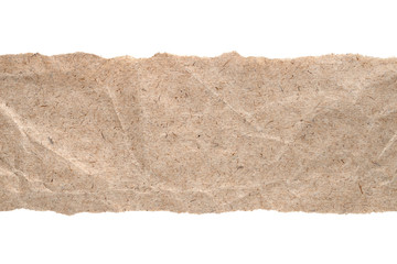Kraft paper with torn edges isolated on white background