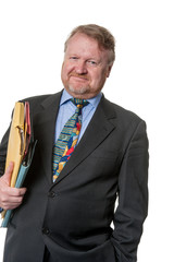 Happy businessman with folders - on white