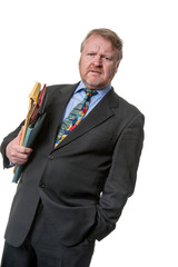 Concerned businessman with folders - on white