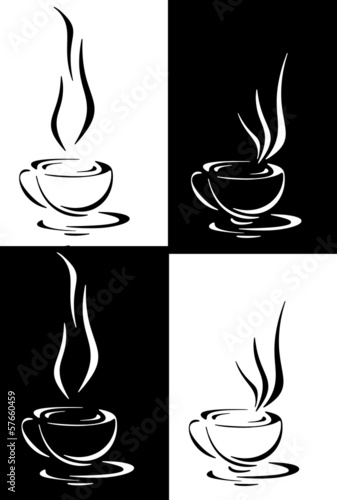 Coffee, tea or hot infusion of herbs, symbol and icon