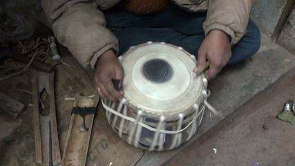 new indian tabla drum in musical instrument masters hands, India
