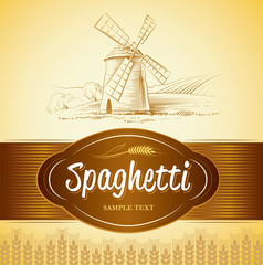 spaghetti. pasta. Bakery. labels, pack for spaghetti, pasta