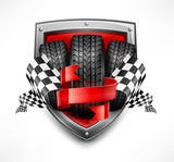 Racing symbols on shield, tires, ribbon and flags, vector