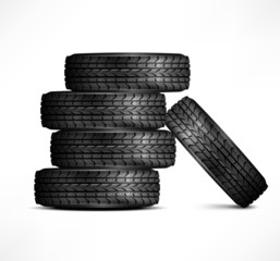 Black rubber tires on white background, vector illustration