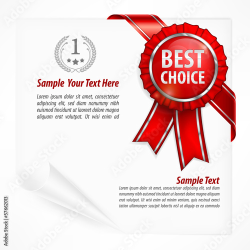 Red award label with ribbon on white paper sheet