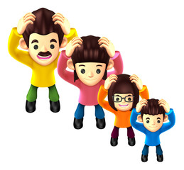 Flexibility as possible a sets of 3D Family Mascot. 3D Family an