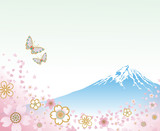 Mt. Fuji and Flying Butterflies