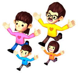 Girls character on Running. 3D Family and Children Character Des