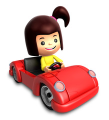 3D Driving a sports car in girls Character. 3D Family and Childr