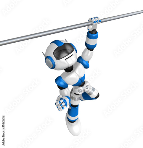 Blue Robot with one hand horizontal bar exercises. Create 3D Hum