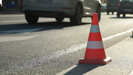 Cone redirect city traffic
