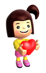 The Girls Mascot holding hearts. 3D Family and Children Characte