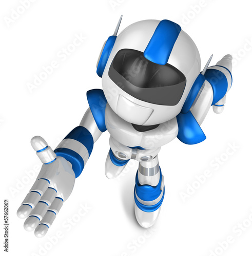 Blue robot character is going to front Running. Create 3D Humano
