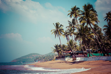Exiting Anjuna beach panorama on low tide,Goa,India