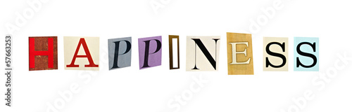 Happiness word formed with magazine letters