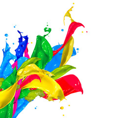 Colorful Paint Splashes Isolated on White. Abstract Splashing