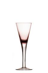 Bicchiere da dessert vuoto viola sfondo bianco