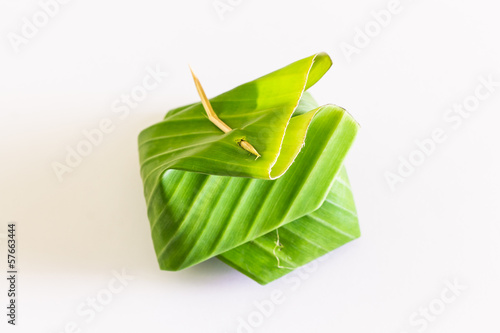 Thailand dessert ,Wrapped in banana leaves