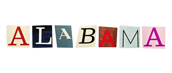 Alabama word formed with magazine letters on a white background