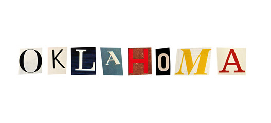 Oklahoma word formed with magazine letters