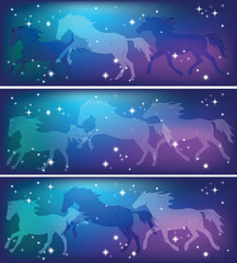 ghostly horses on a background of the sky