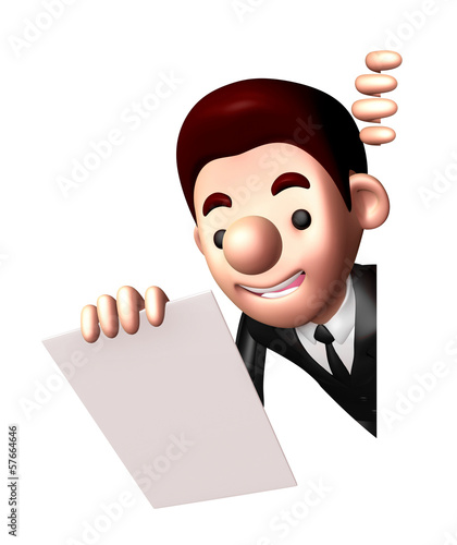 3D Business man Mascot is holding paper documents. Work and Job