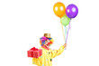 Happy male clown with bunch of balloons and present