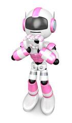 Pink Robot gesture of love. Create 3D Humanoid Robot Series.