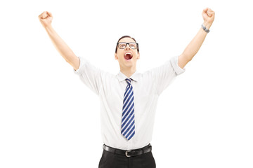 Excited male with raised hands gesturing happiness