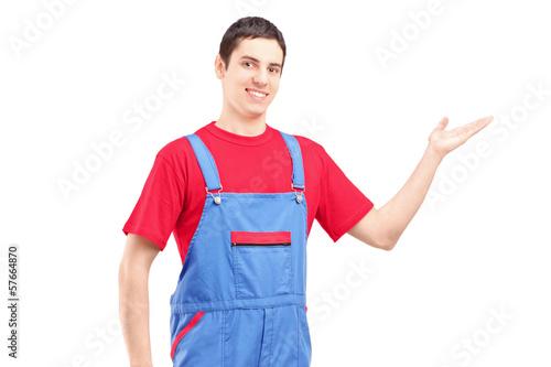 Repairman gesturing