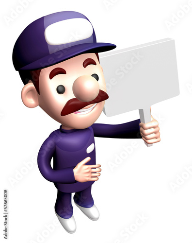 3D Service man mascot holding a signpost. Work and Job Character
