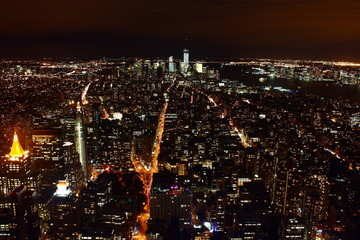 Skyline notturno di New York