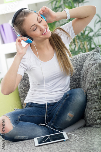 beautiful woman relaxing with music