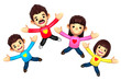The Family is jumping with both hands stretched. 3D Family and C